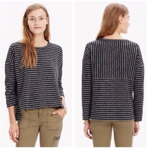 Madewell Marled Strip High Low Grey Black Top